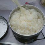 白米が旨い!薪とクッカーで米を炊く